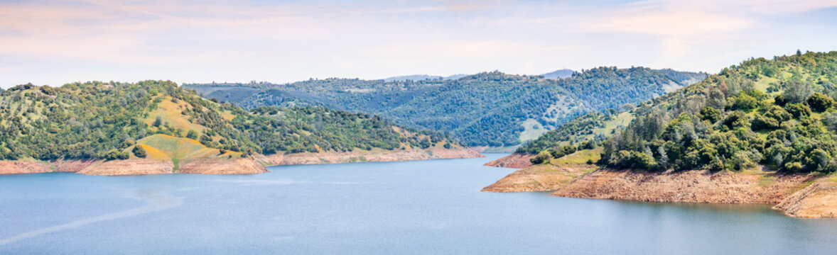Panoramic view of New Melones Lake, a reservoir on the foothills of Sierra Mountains; California