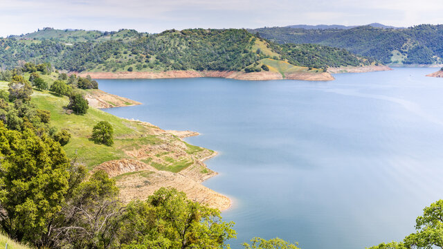 Aerial view of New Melones Lake, a reservoir on the foothills of Sierra Mountains; California