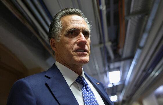 U.S. Senator Mitt Romney departs after bipartisan work group meeting on infrastructure legislation at the U.S. Capitol in Washington