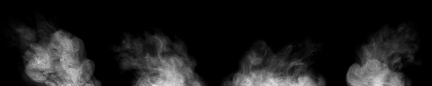 smoke steam isolated black background