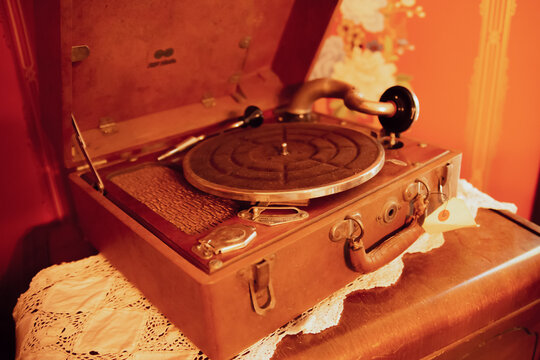 Vintage record player box made of leather