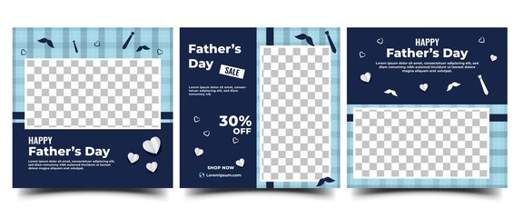 Obraz Father's day social media post template design. Modern banner with place for the photo. Usable for social media, cards, banners, and websites. - fototapety do salonu