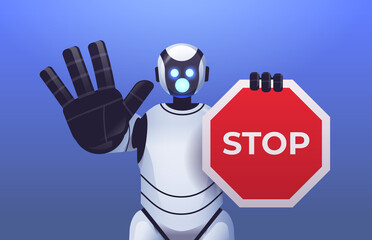 Fototapeta robot cyborg holding red stop sign robotic character showing no entry hand gesture artificial intelligence obraz