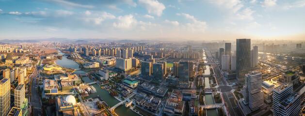 Obraz Aerial photography of the urban architectural skyline of Ningbo, Zhejiang - fototapety do salonu
