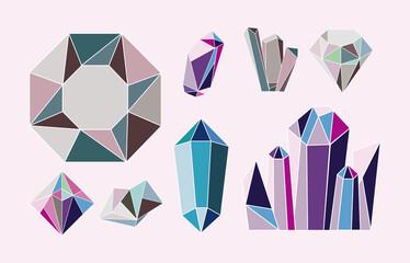 Fototapeta eight crystal gems obraz