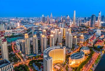 Aerial photography of Tianjin city building skyline night view - fototapety na wymiar