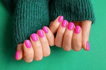 Obraz Woman with beautiful manicure on color background - fototapety do salonu