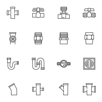 Plumbing equipment line icons set