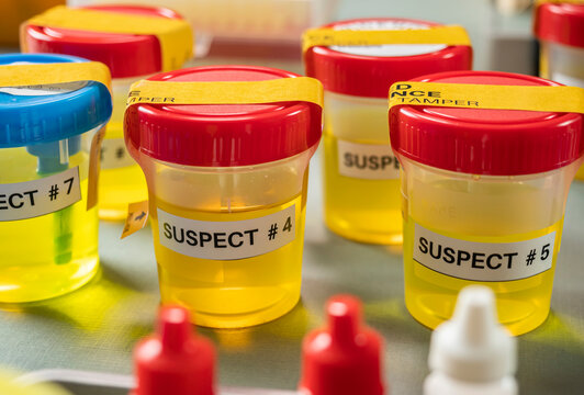 Various containers with human urine, crime lab, murder suspects labelled on each, conceptual image