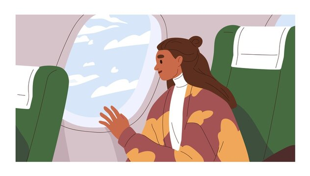 Passenger traveling by air plane, looking outside porthole at sky with clouds. Happy woman sitting by window in aircraft. Female tourist in airplane. Colored flat vector illustration of traveler