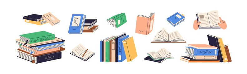 Stacks of books for reading, pile of textbooks for education. Set of literature, dictionaries, encyclopedias, planners with bookmarks. Colored flat vector illustration isolated on white background - fototapety na wymiar