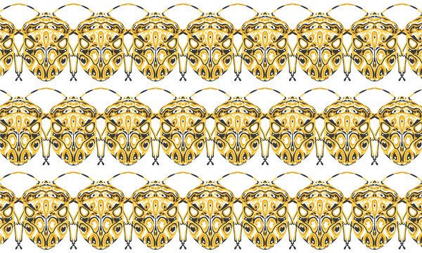 Seamless pattern with detailed illustrations of beetle insects on a white background in horizontal repeat.