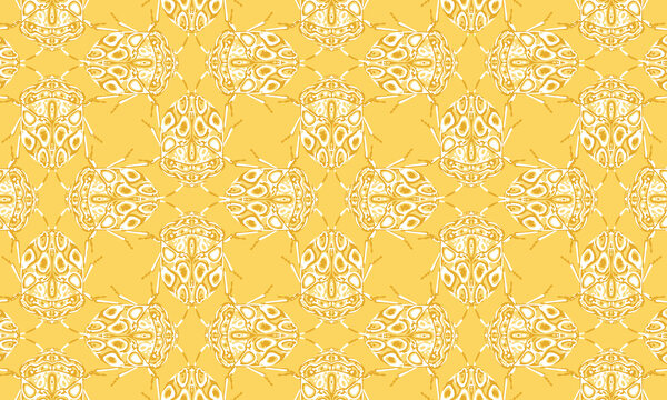Seamless pattern with detailed illustrations of beetle insects on a light yellow background in a mosaic repeat.