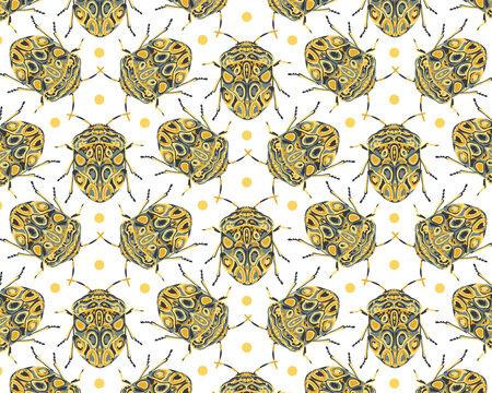 Seamless pattern with decorative illustrations of beetle insects on a white background, in a mosaic repeat.