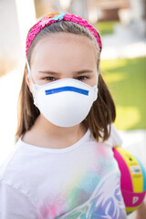 Fototapeta Portrait Of A Girl Wearing A Face Mask obraz