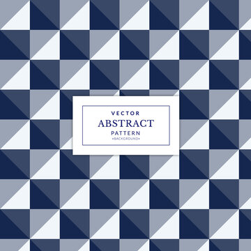 Checkered blue geometric seamless pattern. Abstract blue geometric squares shapes seamless pattern. Vintage Art Deco Seamless Pattern..