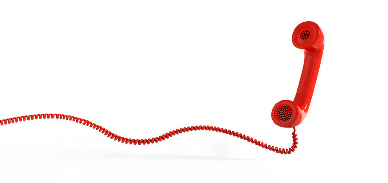 Red retro telephone handset isolated on white background with copy space
