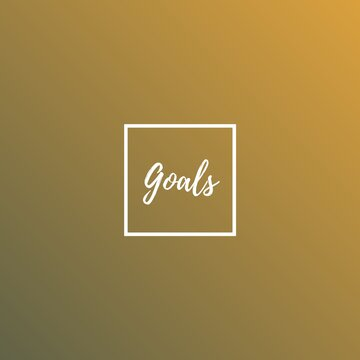 Goals (one word quote) on Gradient background with combination of   Mango mojito and Terrarium Moss color, for Magazines, books and hardcover journals.