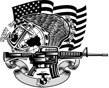 Military  army rifle tattoo