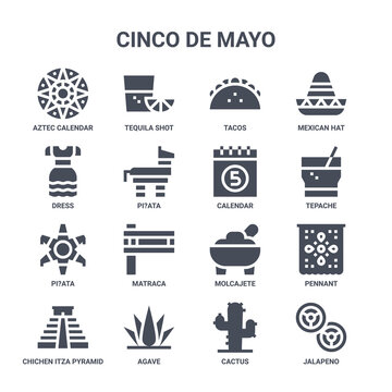 icon set of 16 cinco de mayo concept vector filled icons such as tequila shot, dress, tepache, molcajete, agave, jalapeno, cactus, calendar, mexican hat