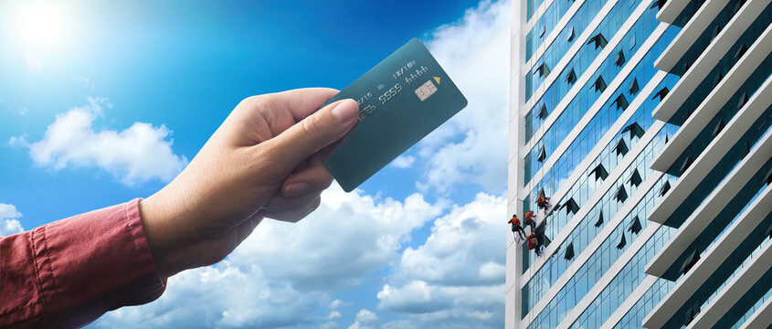 Payment credit card for home or office. Home purchase concept.