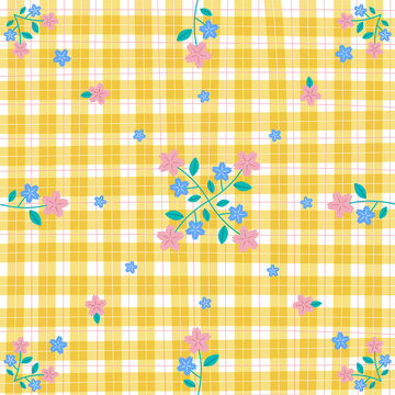 Yellow Gingham with Sakura Flower Patterns Background Editable Stroke. Vector Illustration Tablecloth, Picnic mat, Fabric pattern, Textile.