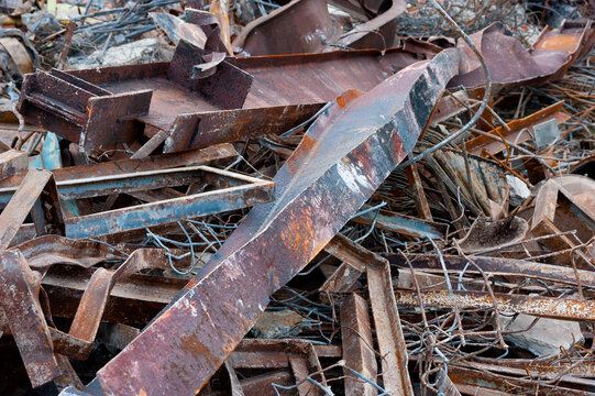 A pile of rusted metal for recycling.