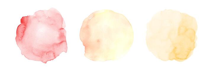 Fototapeta Set of three yellow gradient orange watercolor circle stain obraz
