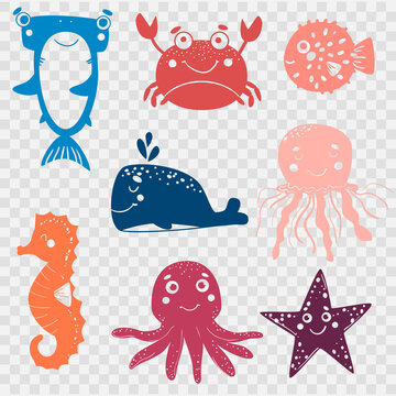 Set of cute marine animals for cutting with a plotter. Crab, shark, whale, fish ball, seahorse, octopus, and starfish on transparent background. laser cutting file