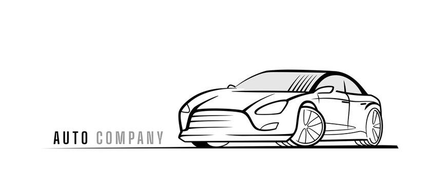 Sport car vector line style. Racing auto