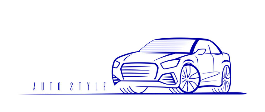 Suv car logo on white background. Vector