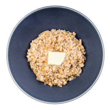 top view of buttered porridge from crushed Emmer