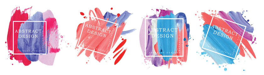 Fototapeta Absract design watercolor brush strokes composition hand drown obraz