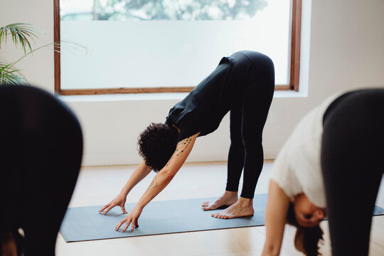 Group of women practicing yoga lesson