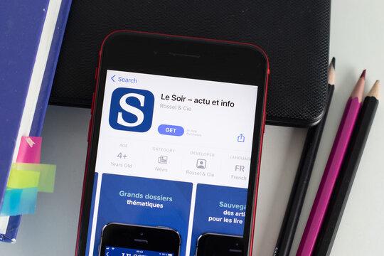 New York, USA - 1 June 2021: Le Soir - actu et info mobile app logo on phone screen, close-up icon, Illustrative Editorial.