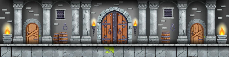 Castle dungeon game background, medieval prison interior, stone pillars, wooden ancient gate, door. Basement room level illustration, torch, fire, barrels. Cartoon old jail concept, castle dungeon