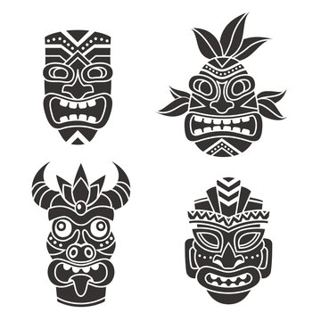 Mask idol. Ritual black totem tribal face masks, god tiki african culture. Ethnic mayan, aztec and polynesian aboriginal symbols. Ancient tropical religion statue vector isolated set