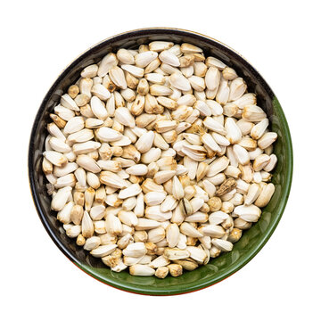safflower seeds in round bowl isolated