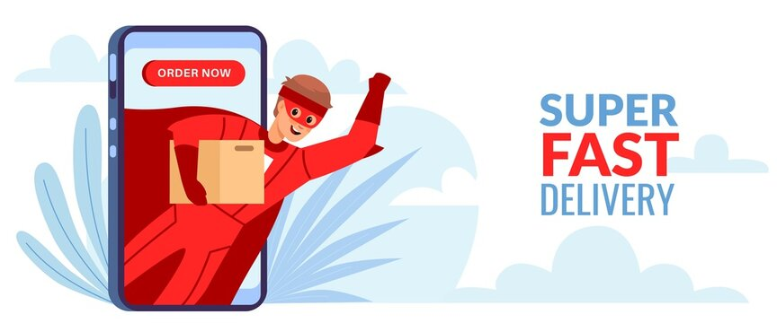 Super delivery. Man in superhero suit with cardboard box on smartphone screen, male character fast and express shipping parcels, order now horizontal poster. Vector cartoon concept