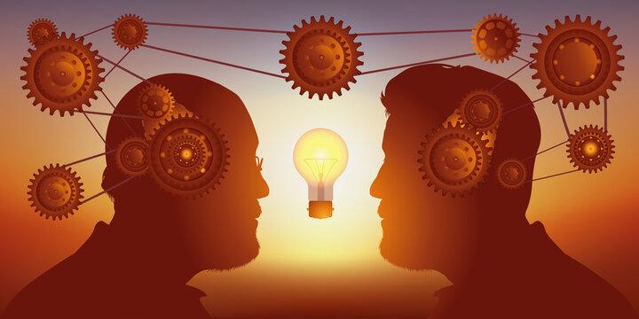 Concept du partage de compétences pour trouver une solution, avec deux hommes face à face qui collaborent à la recherche d'une idée.