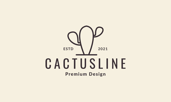 lines hipster cactus logo vector icon illustration design