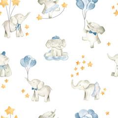 Baby elephant watercolor illustration nursery seamless  pattern for boys