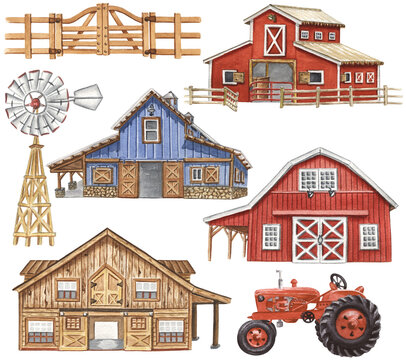Watercolor Barns Clipart. Farm Style. Red Barn House, Horse, Tractor, Windmill, Wood Gate Illustrations. Wedding Invitation DIY.