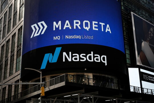 The logo for payments startup Marqeta Inc. is displayed on a screen during the company's IPO in Times Square in New York