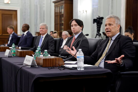 Marquette University Law School's Mitten testifies on college athlete rights during a hearing of the Senate Commerce, Science and Transportation Committee on Capitol Hill in Washington