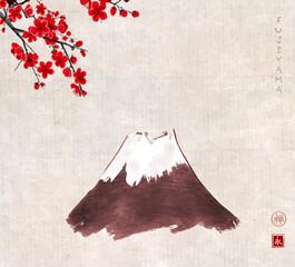 Fujiyama mountain and sakura blossom on vintage background. Traditional oriental ink painting sumi-e, u-sin, go-hua. Translation of hieroglyph - zen, eternity.
