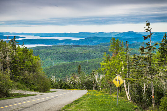 View on the Chaleurs Bay in Gaspesie (Quebec. Canada) from the road leading to the top of Mount St Joseph
