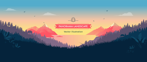 Beautiful panorama vector landscape illustration - Peaceful view over mountains, ocean and forest. Travel, hiking, outdoors and adventure background or wallpaper.