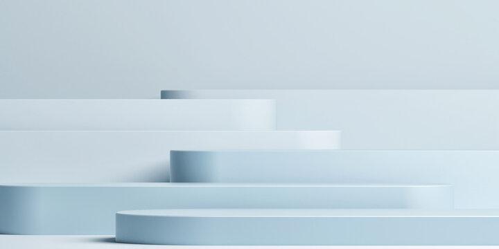 Mockup podium for product presentation, blue background, 3d render, 3d illustration.