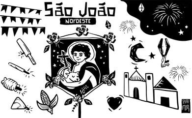 Obraz Xilogravura, São João do Carneirinho,  festa junina, fogos, Nordeste do Brasil, Cidade interior. Woodcut, fireworks, Northeast Brazil, Inner city. - fototapety do salonu